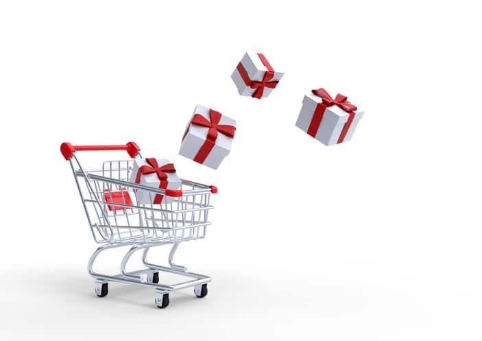 panier achat cadeau shopping noël